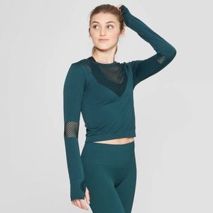 Joy Lab Green Crop Long Sleeve Shirt Workout Top